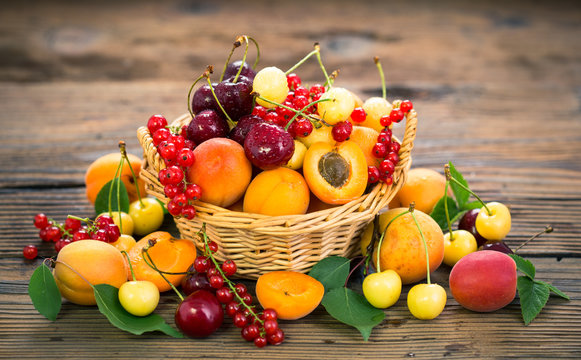 Fresh summer fruits in the basket