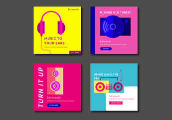 Four Colorful Square Music Social Media Post Layouts