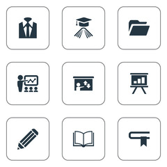 Vector Illustration Set Of Simple Seminar Icons. Elements Archive, Master Degree, Display And Other Synonyms Information, Study And Screen.