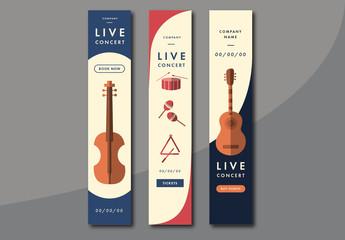 Three Concert Event Skyscraper Web Banner Ad Layouts