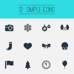 Vector Illustration Set Of Simple Christmas Icons. Elements Clock, Butterfly Knot, Kidney And Other Synonyms Photography, Ornament And Winter.