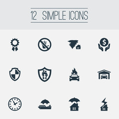 Vector Illustration Set Of Simple Guarantee Icons. Elements Advocacy, Prohibited, Vehicle Assurance And Other Synonyms Clock, Lightning And Dollar.