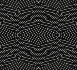 Subtle vector geometric background texture, seamless pattern with thin lines, rhombuses, linear stars, repeat tiles. Dark abstract minimalist backdrop. Monochrome design for prints, decor, covers