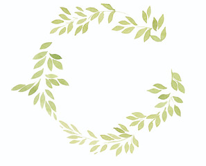 Watercolor wreath leaves green