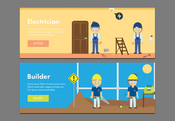 Two Construction Web Banner Layouts