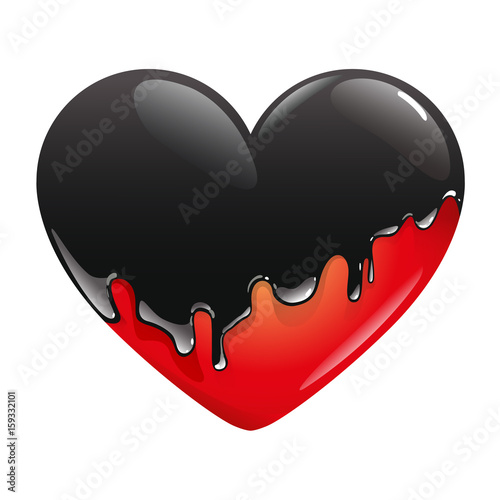 The Red Heart Is Flooded Black Paint Which Drains Over It And