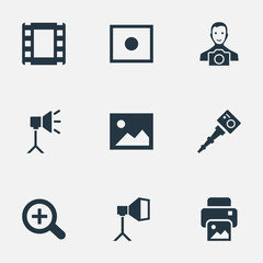 Vector Illustration Set Of Simple Photographer Icons. Elements Cameraperson, Registration, Flame Instrument And Other Synonyms Man, Cameraperson And Zoom.