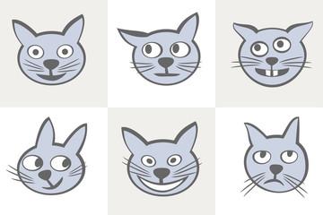 Smiles cats icon set.