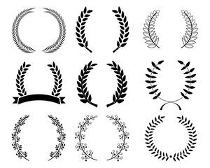 Leave laurel set vector design