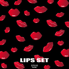 The pattern of female lips. A set of lips with an open mouth and teeth. A pattern of lips on a black background.