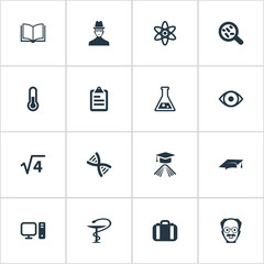 Vector Illustration Set Of Simple Science Icons. Elements Briefcase, Thermometer, Book And Other Synonyms Scientist, Academy And Physics.