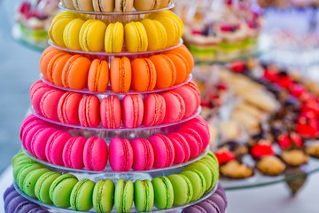 Delicious french macarons and cake dessert on plates