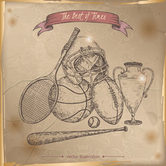 Antique sport gear hand drawn sketch on old paper background.