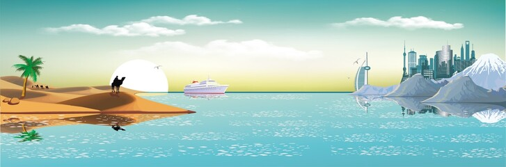 Arab metropolis on the coast. Landscape, panorama. Sand dunes, caravan of camels. A cruise liner in the Bay of Dubai. Vector illustration