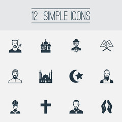 Vector Illustration Set Of Simple Faith Icons. Elements Chapel, Muslim, Taoism And Other Synonyms Catholic, Christian And Kohen.