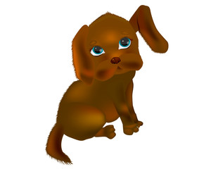 Very cute baby dog. Vector illustration.