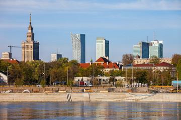 Warsaw City Skyline From Vistula River in Poland
