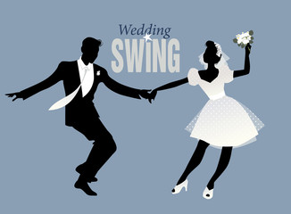 Fototapete - Wedding Dance. Bride and groom dancing swing, lindy hop or rock and roll
