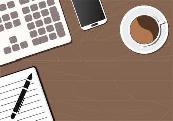 Desktop, computer, keyboard, notebook, phone, pen and coffee cup