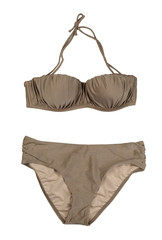 Beige Colorful swimsuit, isolate on white