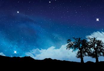 cielo con estrellas sobre las montañas