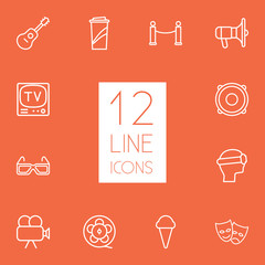 Set Of 12 Entertainment Outline Icons Set.Collection Of Bullhorn, Ice Cream, Masks And Other Elements.