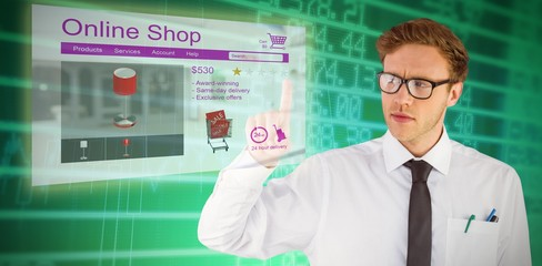 Composite image of geeky businessman smiling and pointing