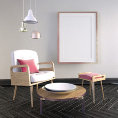 3d illustration, modern interior with frame, poster and chair. poster mock up