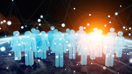 3D rendering group of icons people surrounding planet Earth