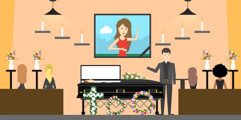 Funeral at church.