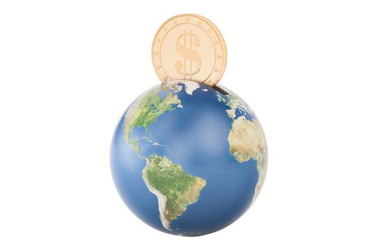 Earth globe money box, 3D rendering