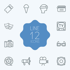 Set Of 12 Pleasure Outline Icons Set.Collection Of Masks, Movie Cam, Photo Camera And Other Elements.