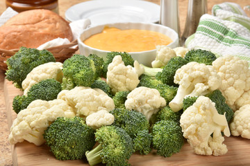 Broccoli and cauliflower with dip