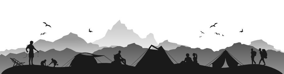 Silhouette Zelten in den Bergen
