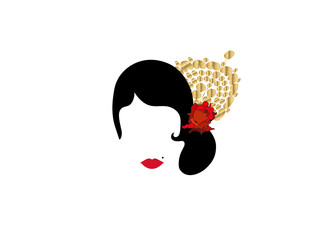 Portrait of modern Latin or Spanish woman, Lady with gold accessories peineta and red flower ,Icon isolated, Vector illustration transparent background