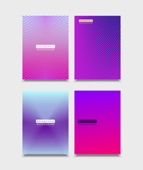 Set of Brochure Covers design. Halftone gradients with line. Future geometric template for brochure, poster, flyer. Vector.