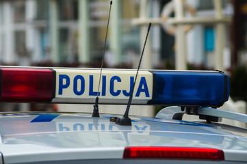 Polish police car lights