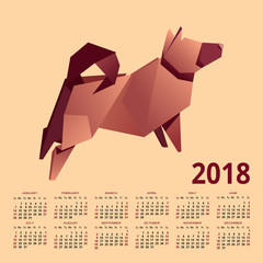 calendar 2018. image is paper dog. vector graphics
