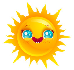 Funny sun with smile.