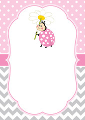 Vector Card Template with a Cute Ladybug on Chevron and Polka Dot Background.