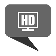 Hd display flat design web bubble vector icon.