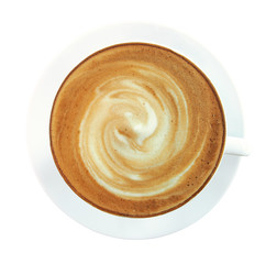 Top view of hot coffee cappuccino cup with spiral milk foam isolated on white background, clipping path included.