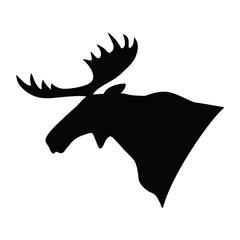 Silhouette of a moose's head. Vector illustration