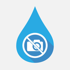 Isolated water drop with  a photo camera  in a not allowed signal