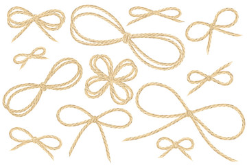 Linen string bow set. Large variety of vector ribbon illustrations from flax twine material.