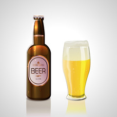 Beer bottle and glass of bee