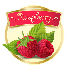 Vector illustration of a round label, a sticker with raspberry berries in a realistic style. Print, template, packaging design element for berries, jam, drink
