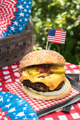 Fourth of July celebration with All American hamburger