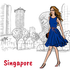 woman on Orchard Road in Singapore