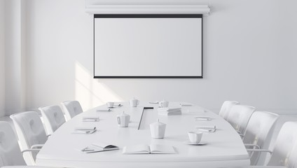 White Modern Meeting Room with projector screen